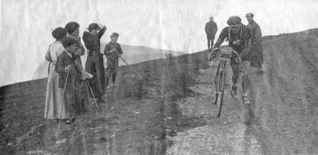 Firmin Lambot crest the Aubisque in the 1913 Tour