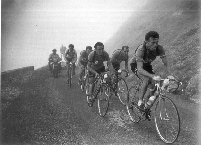 Luoison Bobet leads up the Aubisquein the 1954 Tour