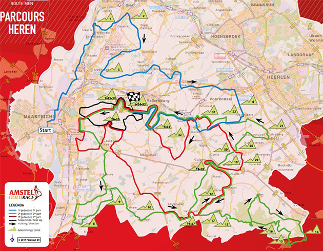 2019 Amstel Gold Race map