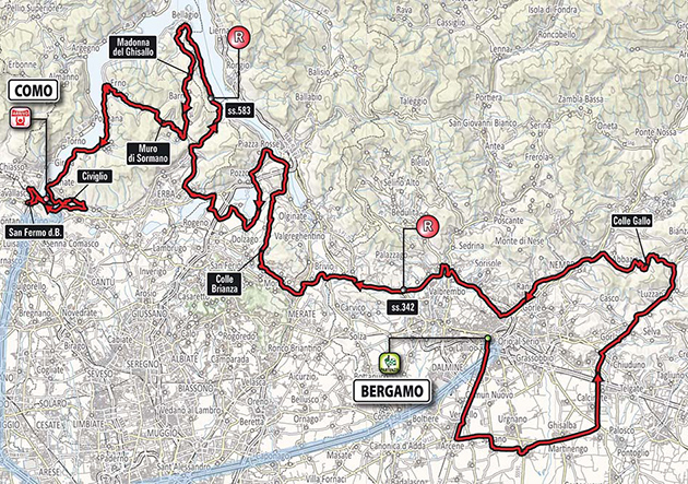 2017 Tour of Lombardy map