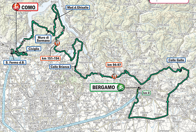 2020 Tour of Lombardy map