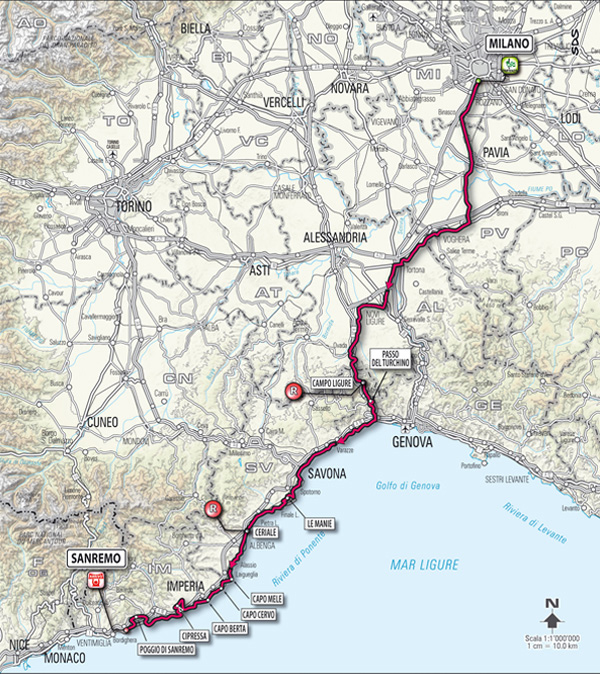 2012 Milan - San Remo map