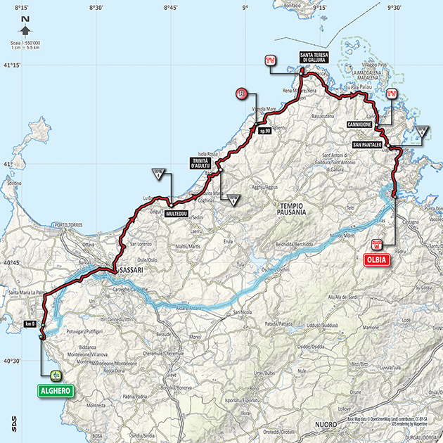 Giro stage 1 map