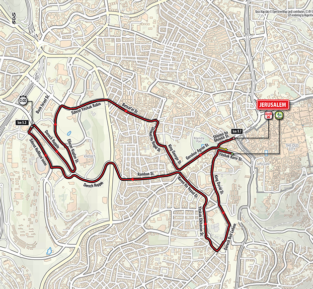 2018 Giro d'Italia stage 1 map