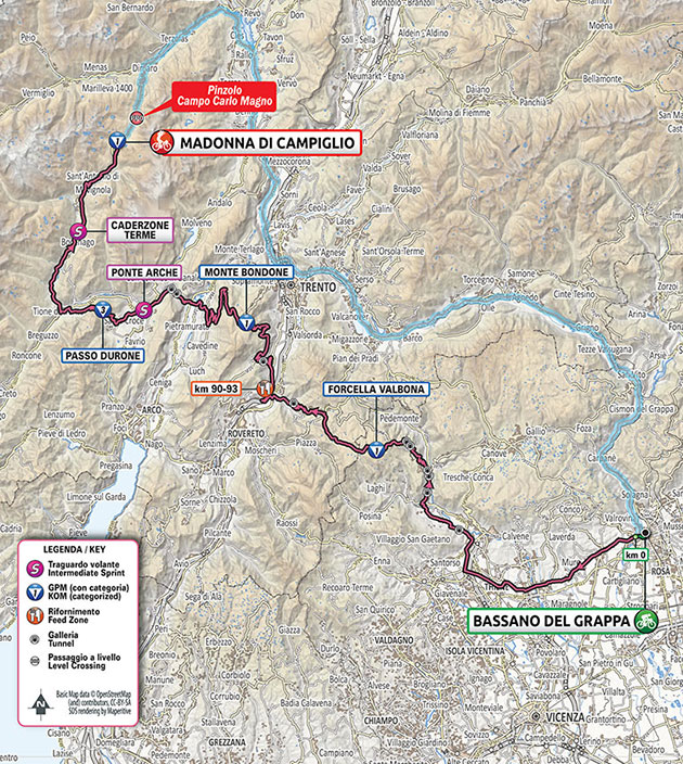 2020 Giro d'Italia stage 17 map