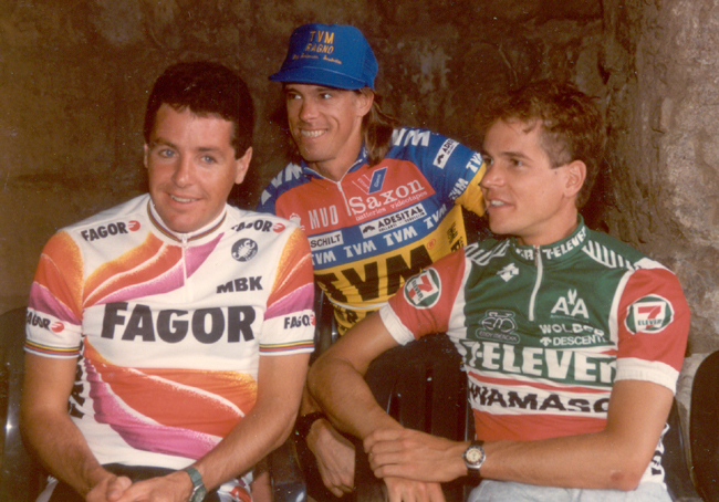 Phil anderson with Stephen Roche And Andy Hampsten