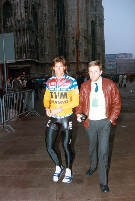 Phil andersn at the start of the 1989 Milano-San Remo