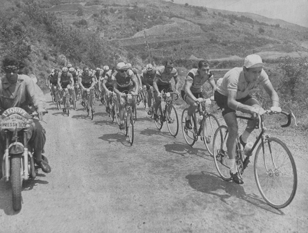 Anquetil in stage 16 of the 1957  Tour de France