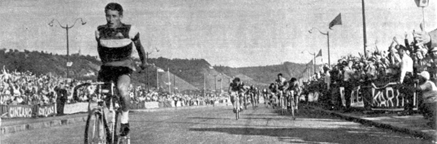Jacques Anquetil wins stage 3B in the 1957 Tour de France