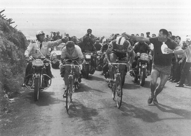 Anquetil and Poulidor race up Puy de Dome in the 1964 Tour
