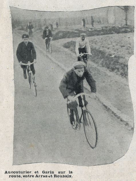 Aucuturier and Cesar Garin racing the 1904 Paris-Roubaix