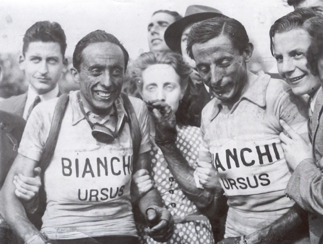 Serse and Fausto Coppi after the 1949 Paris Roubaix