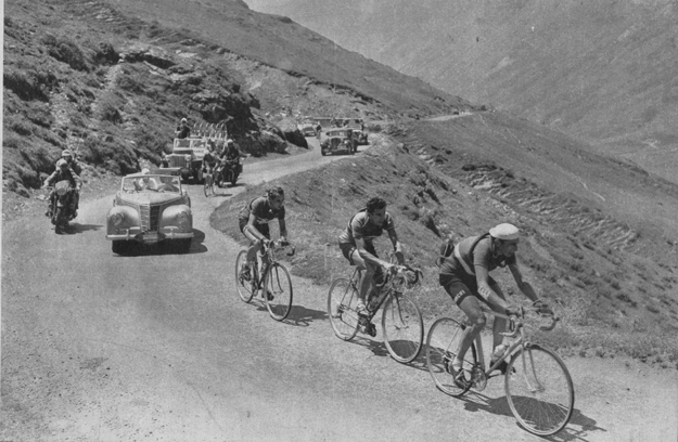 1951 Tour de France, stage 14: Coppi leads Raphaël Géminiani and Hugo Koblet