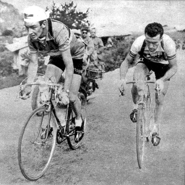 Carly Gaul and Louison Bobet in the 1955 Tour de France