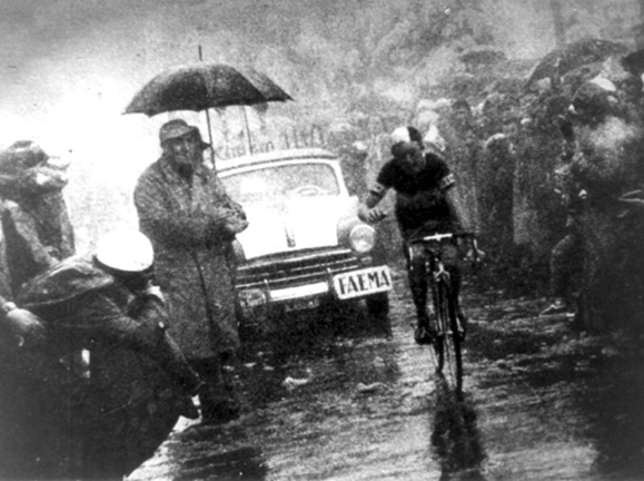 Charly Gaul on Monte Bondone in the 1956 Giro d'Italia