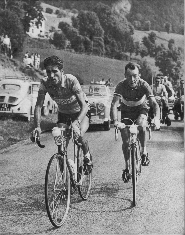 Carhyl Gaul and Federico Bahamontes in teh 1959 Tour de France