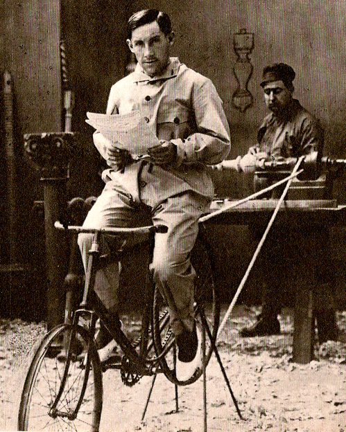 Girardengo turns a lathe with a bike