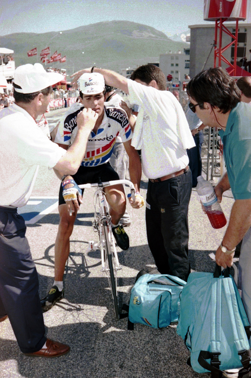Indurain finishes stage 11 of the 1990 Tour de France