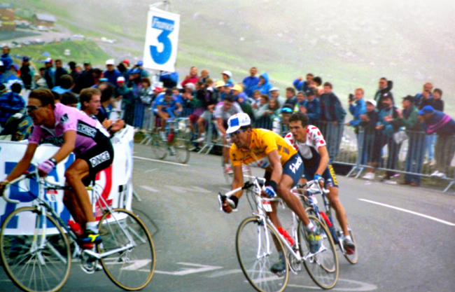 Alez Zulle, Miguel Indurain and Richard Virenque in the 1994 Tour de France