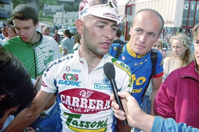 Pantani at the start of stage 2 of the 1995 Tour de France