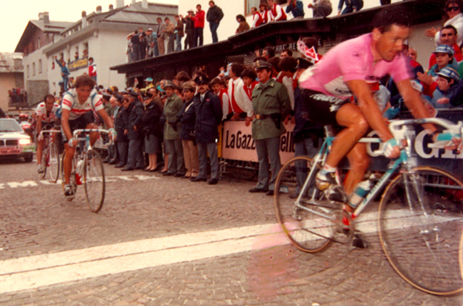 Roche finishes stage 19 of the 1987 giro d'Italia