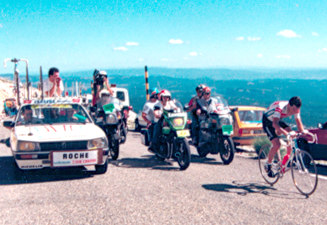 roche riding to the top of Mt. Ventoux in the 1987 Tour de France