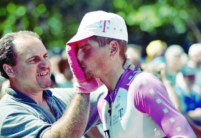 Ullrich gets cleaned up after stage 20 of the 1996 Tour