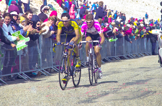 Jan Ullrich and Joseba Beloki climb Mt Venoux in the 2000 Tour de France
