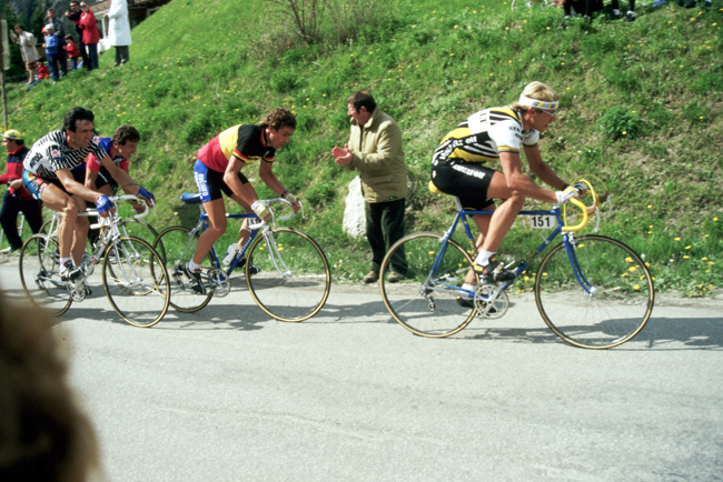 Lucien Van Impe follow Laurent Fignon in stage 19 of the 1984 Giro d'Italia