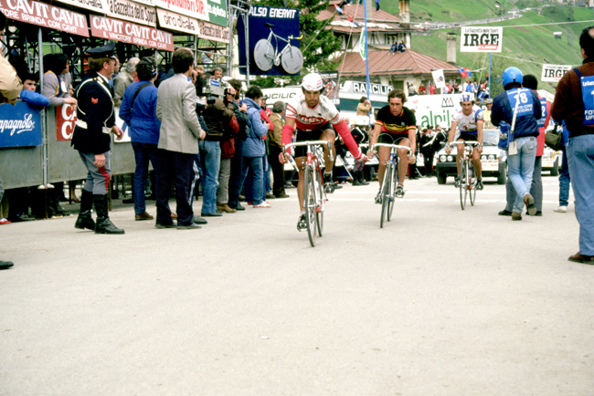 Luciano Loro and lucien van Impe finish stage 20 of the 1984 Giro