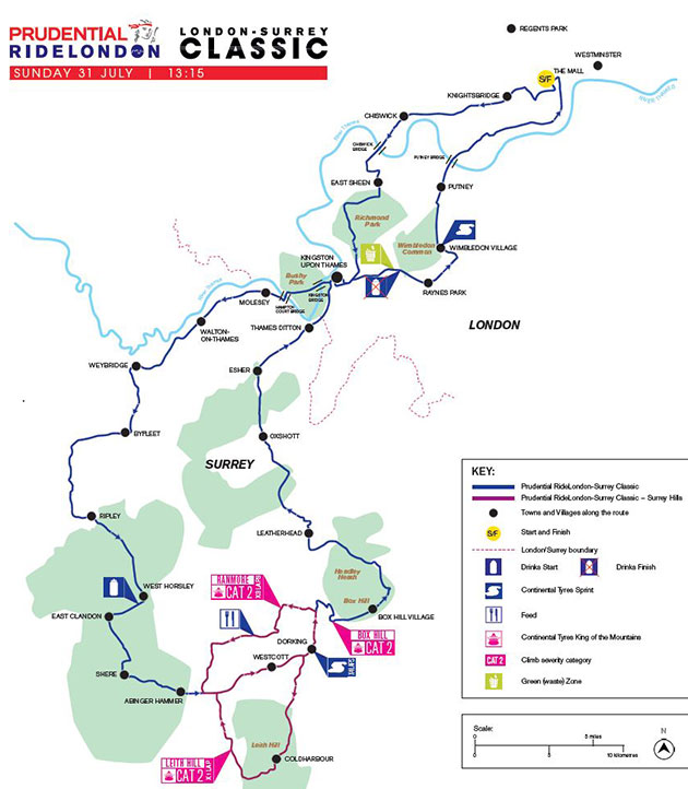 2016 RideLondon map