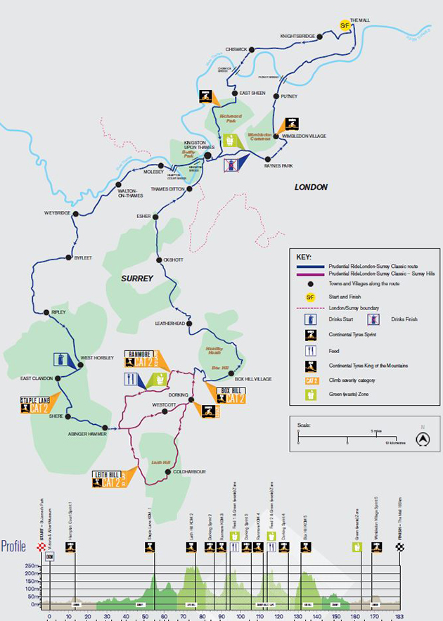 2018 Ride London map