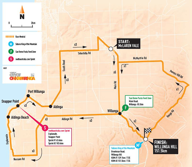 Tour Down Under Stage 5 map