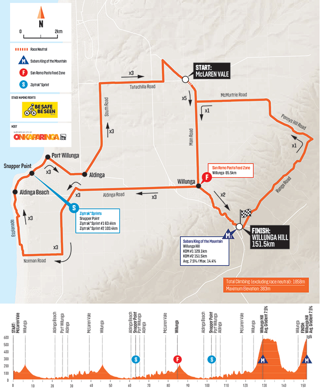 Tour Down Under Stage 6 map