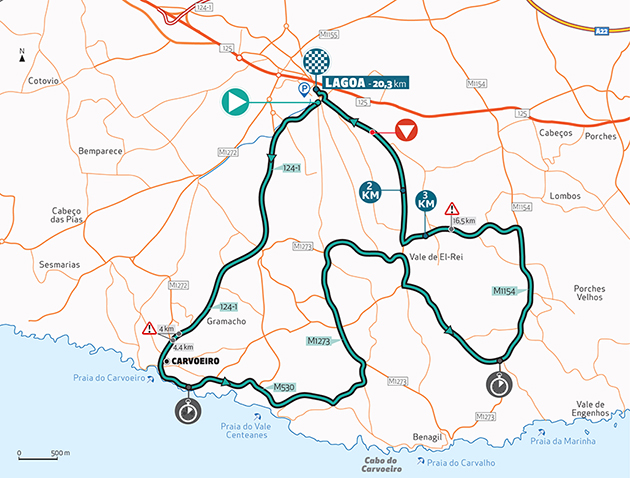 Algarve time trial map