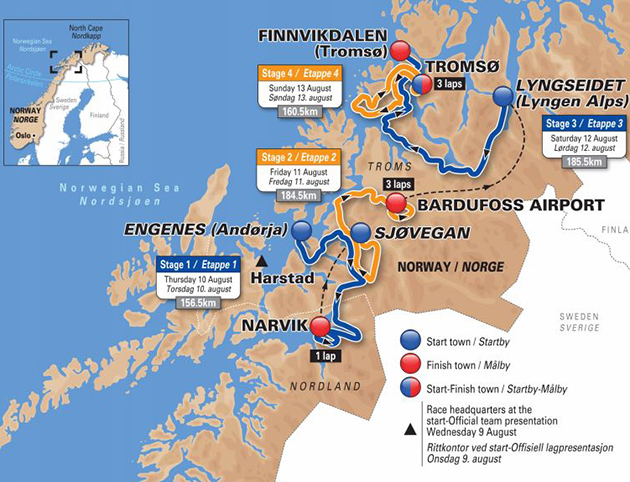 Arctic Race of Norway map