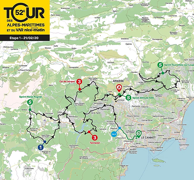 Tour ddes /Alpes-Maritimes stage one map