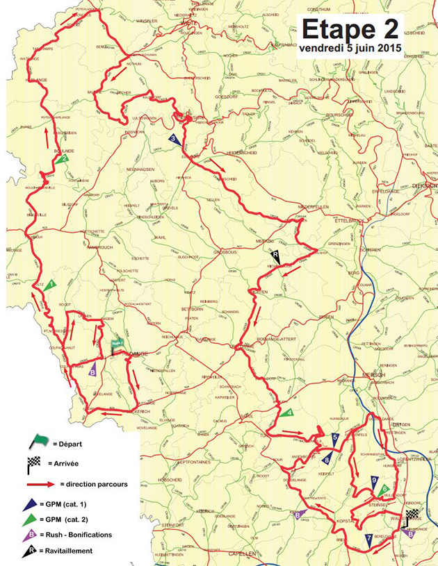 Tour de Luxembourg stage 2 map