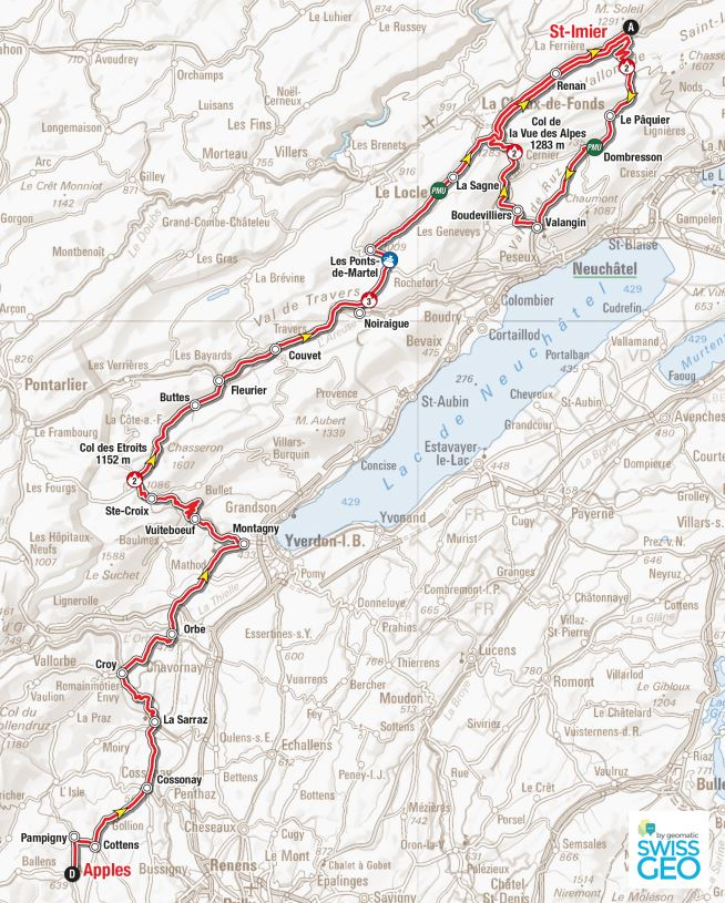 Tour de Romandie stage 2 map