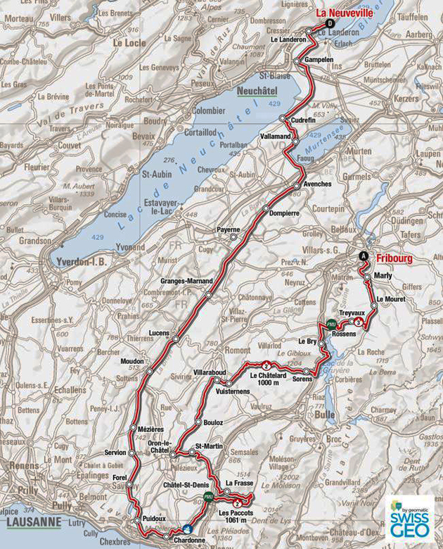 Tour de Romandie stage 4 map