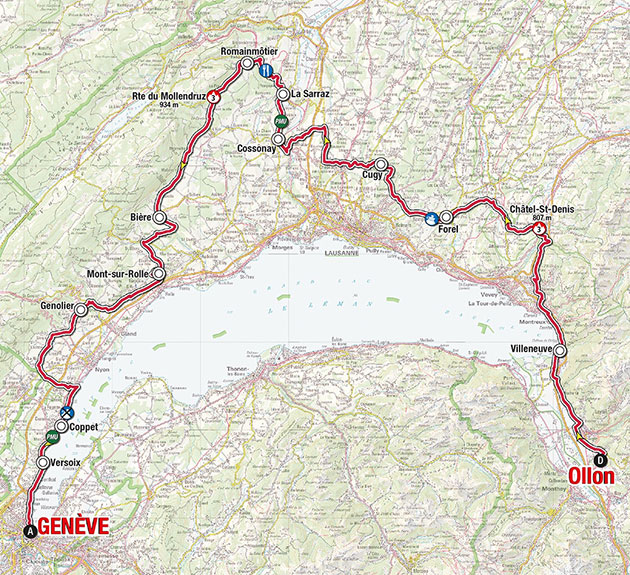 2016 Tour de Romandie stage 5 map