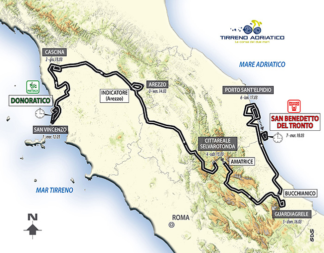 2014 Tirreno-Adriatico map