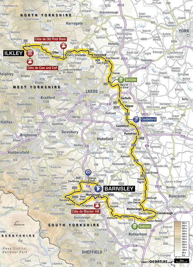 Tour of Yorkshire stage 2 map