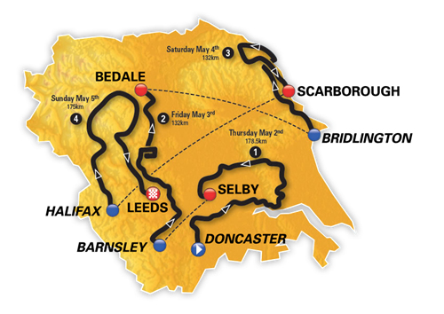 2019 Tour of Yorkshire map