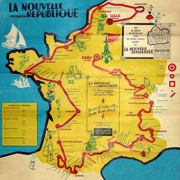 Map Of Tour De France 1960 Tour de France by BikeRaceInfo