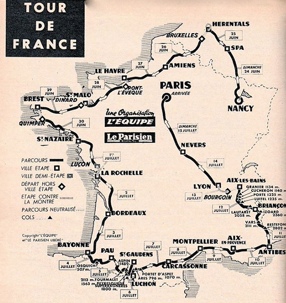 Map of the 1962 Tour de France