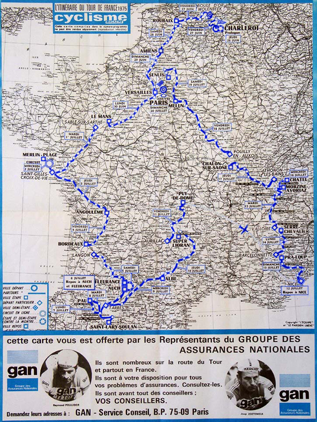 Map of the 1975 Tour de France