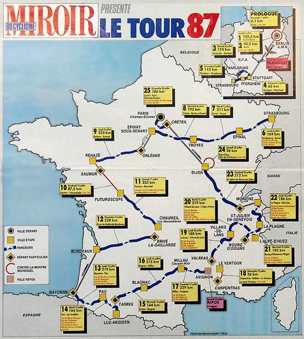 Map France 987.1987 Tour De France