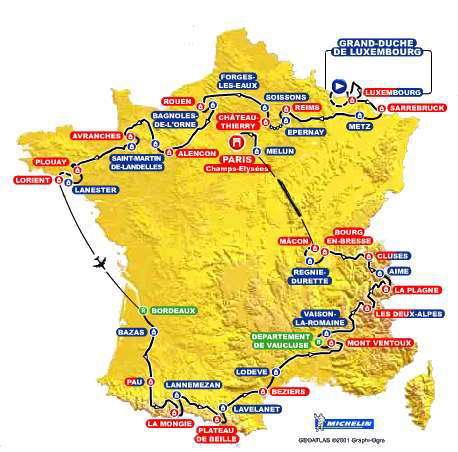 Map of the 2002 Tour de France