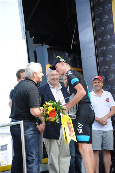 Greg LeMond and Chris Froome on the podium